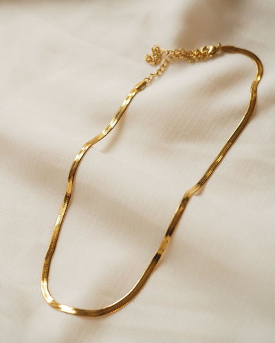 18k gold plated - Snake Chain Choker Necklace (Gold)