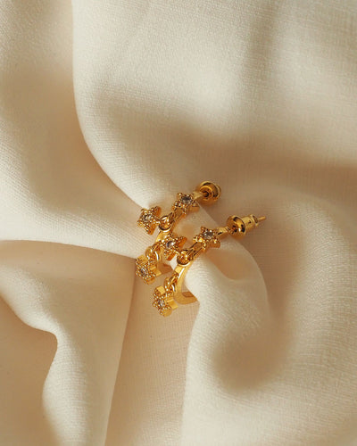 Gold Plated - Orelia Star CZ Hoop Earrings