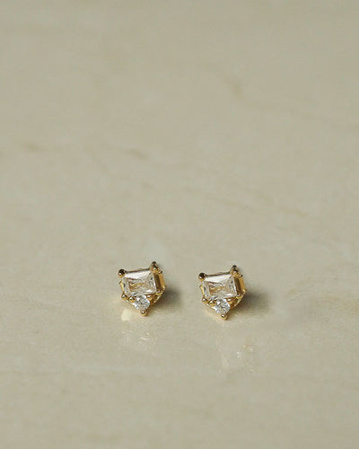 925 Sterling Silver - Emer CZ Stud Earrings (Gold)