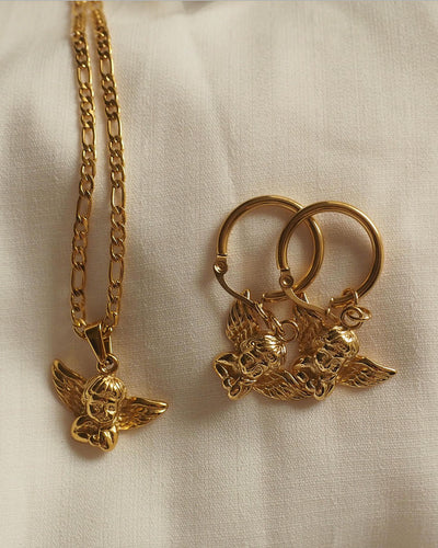18k gold plated - Angel Pendant Necklace and Earrings Set