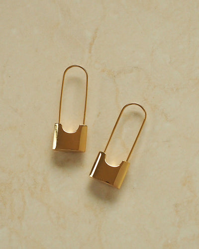 18k Gold Plated - Safety Pin Gold Earrings