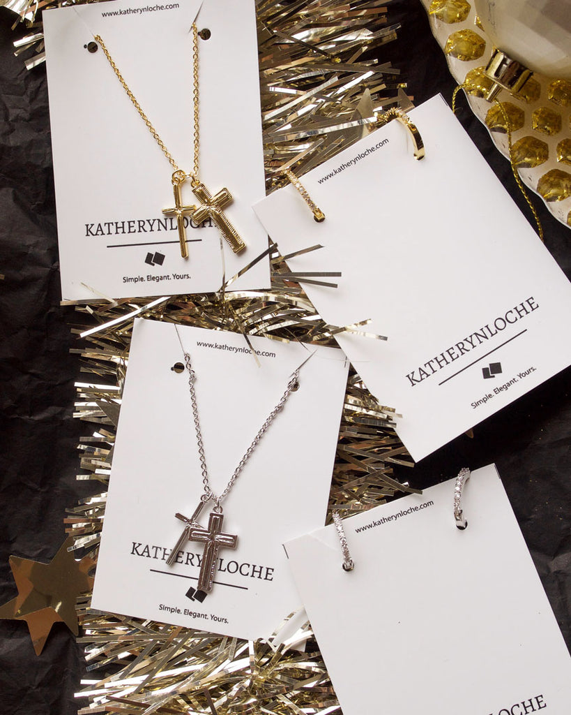 DOUBLE CROSS Necklace and Earring set (save 20%)