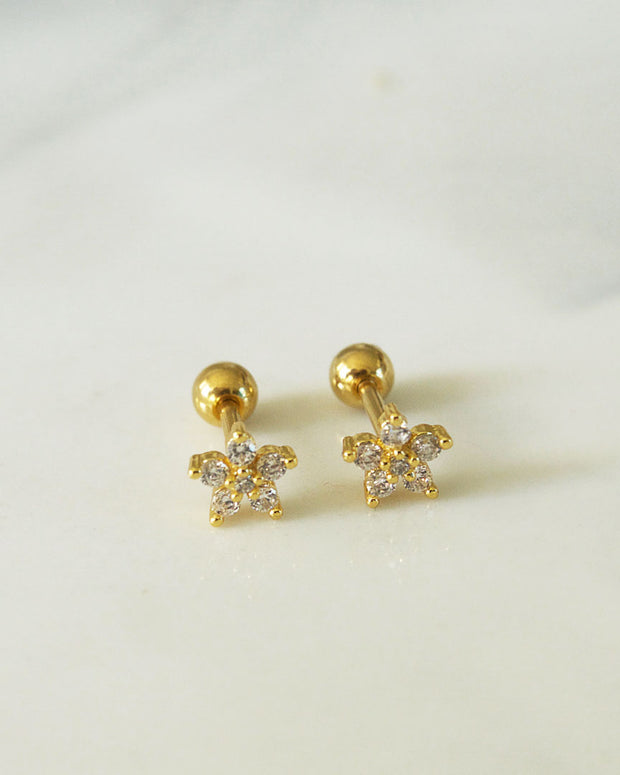 Stainless Steel - Daisy Stud Earrings
