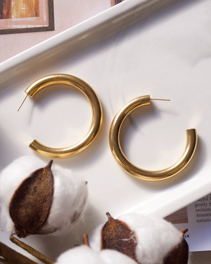 Emma French Hoop Earrings (40mm)