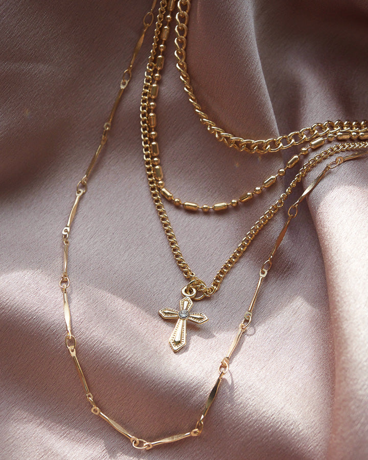 CROSS LAYERED NECKLACE (BACK IN STOCK)