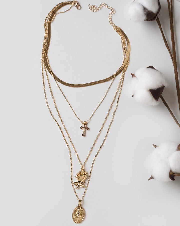 MOTHER MARY Gold Necklace Set