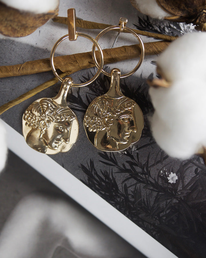NORSE Coin Gold Earrings
