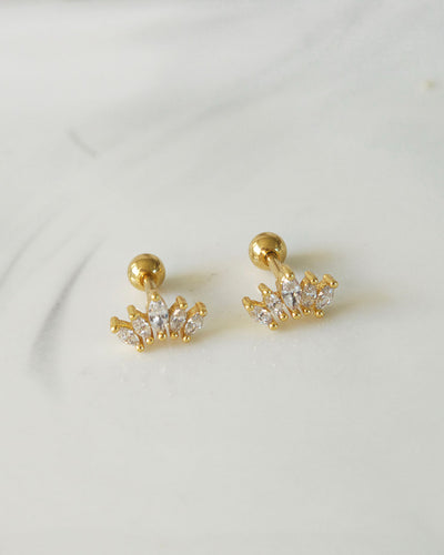 Stainless Steel - Crown Stud Earrings