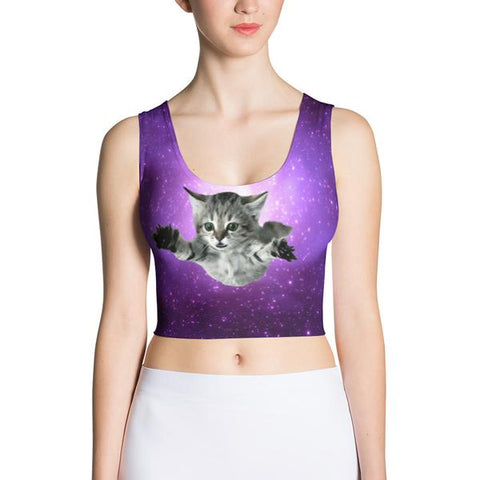 jumping space cat tight crop top