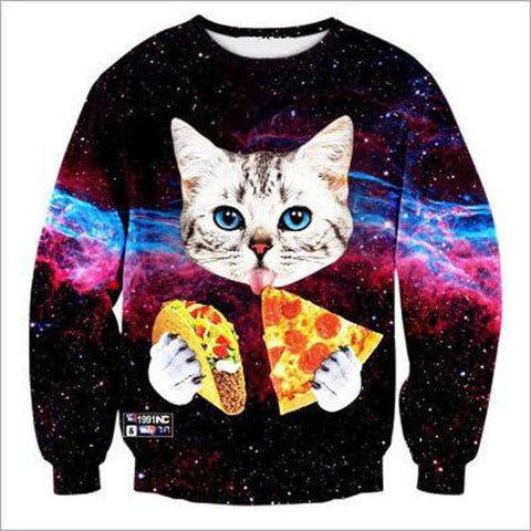 cosmic cat eating pizza sweater