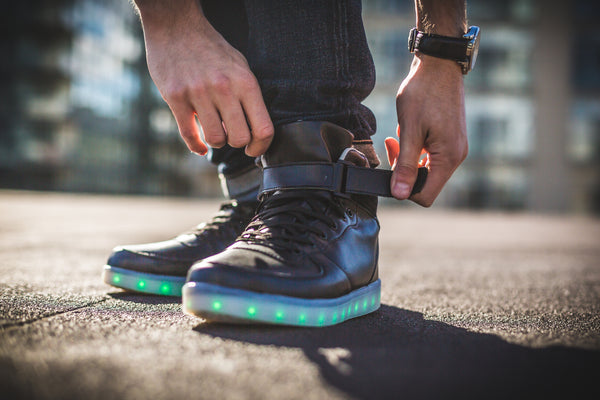 Black LED Space Cat Super Style High Top Shoes