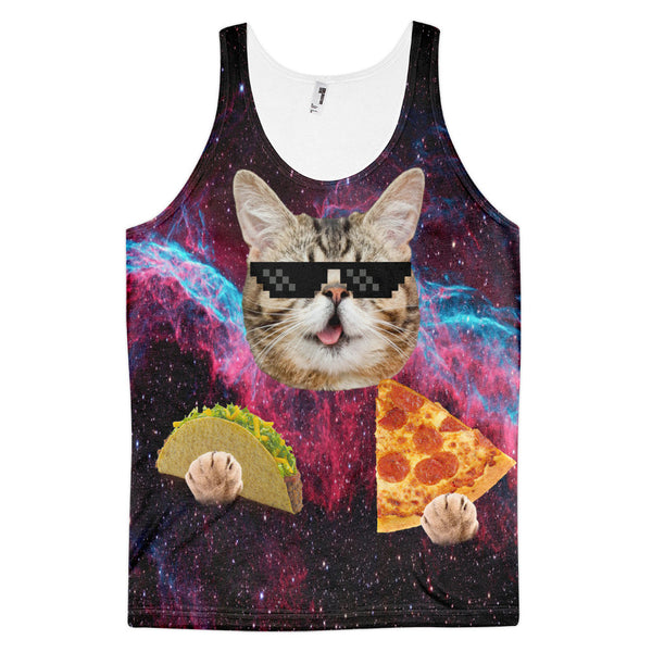 space cat eating pizza and taco
