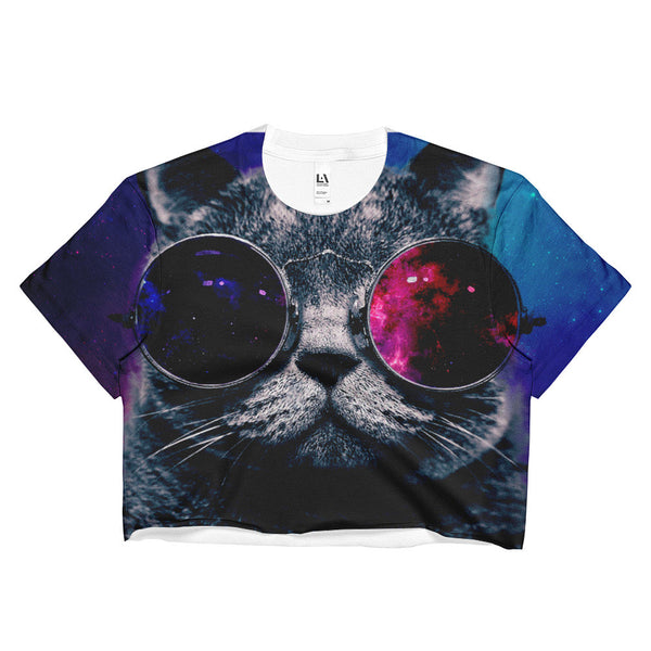 galaxy cat with retro glasses crop top
