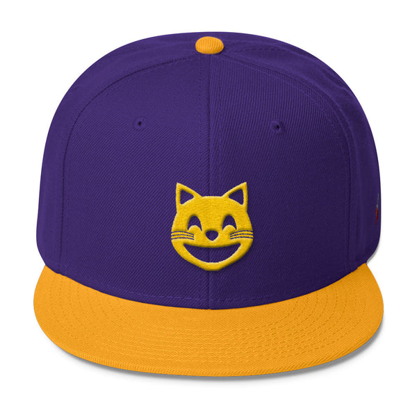 space cat purple and gold snapback hat front