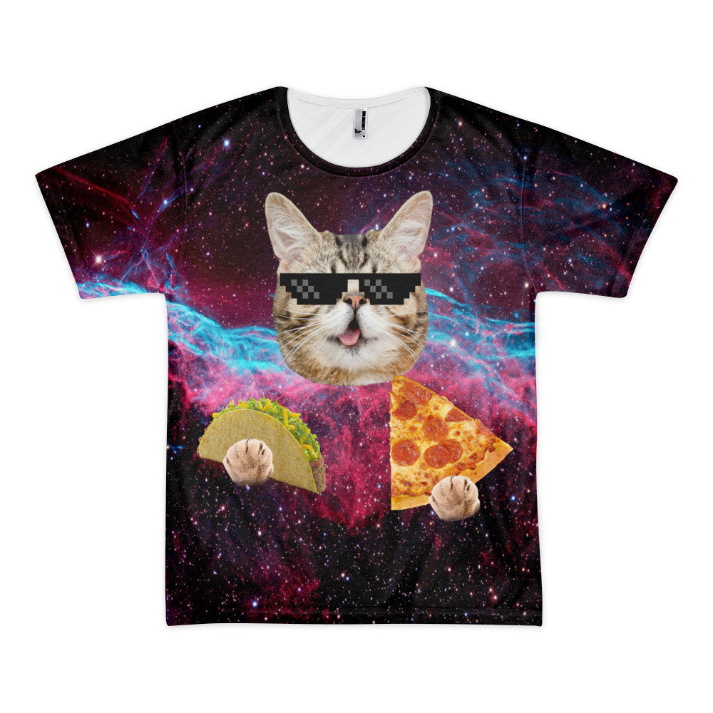 Cool Space Cat Eating Pizza and Tacos T Shirt – Just Space Cats