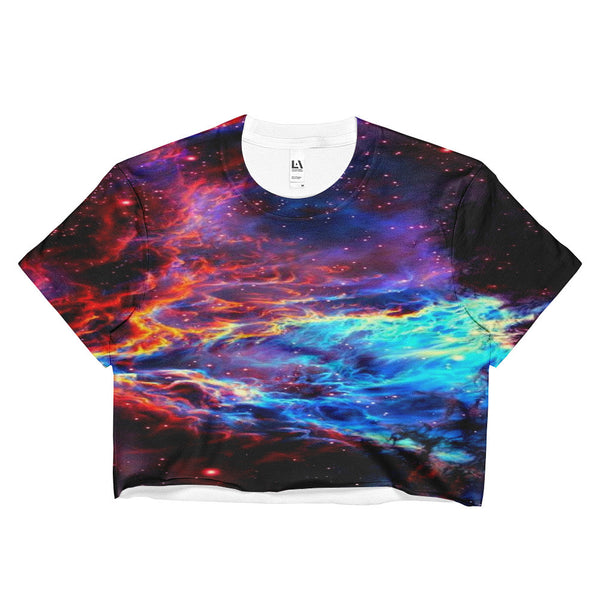 blue nebula galaxy crop top
