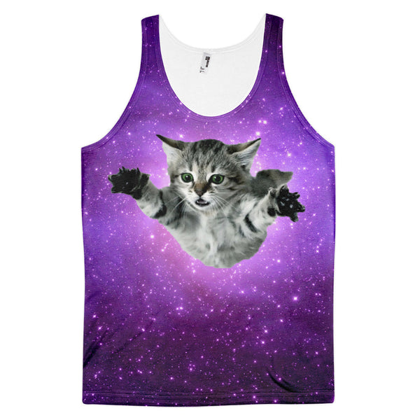 Cosmic Space Cat Leaping into the Galaxy Tank Top