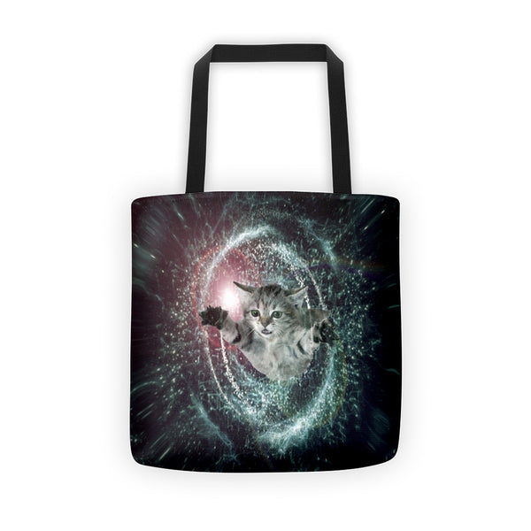 galaxy cat time travel tote bag