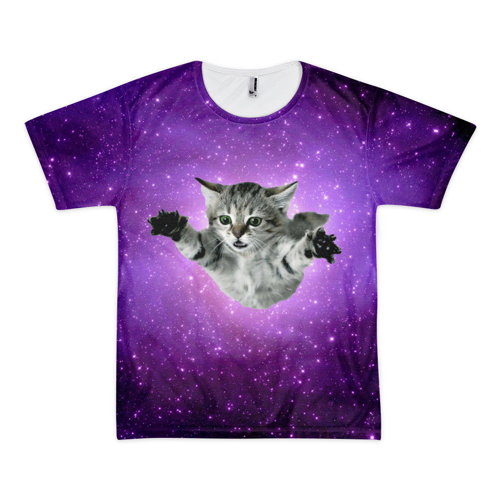 Cosmic Space Cat Leaping into the Galaxy T Shirt – Just Space Cats