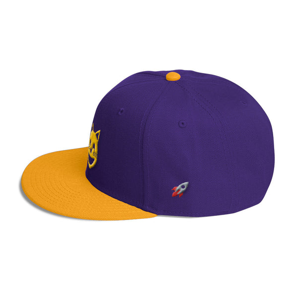 space cat purple and gold snapback hat back