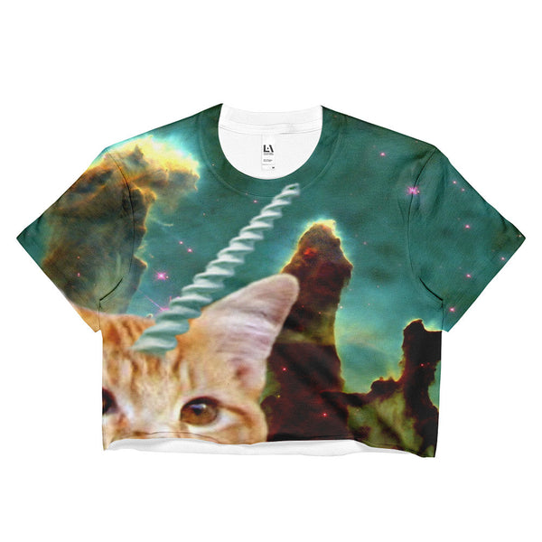 unicorn space cat crop top