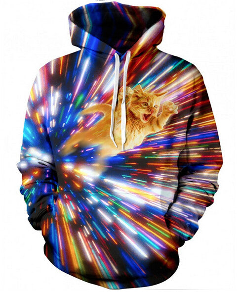 space cat travels in time hoodie