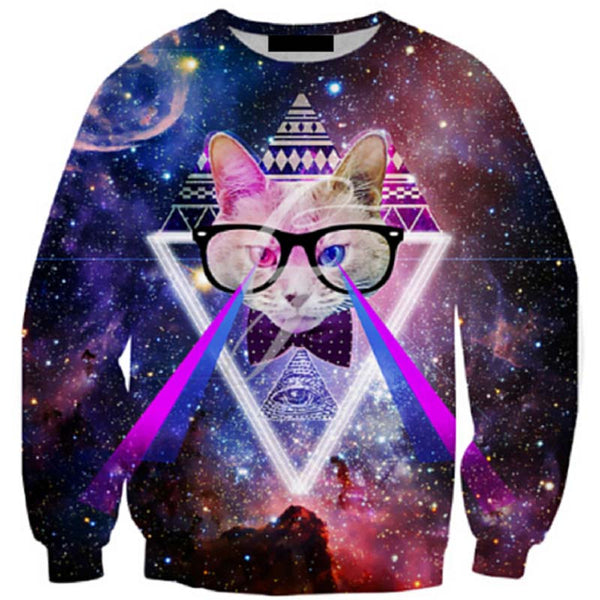 space cat laser eye sweatshirt