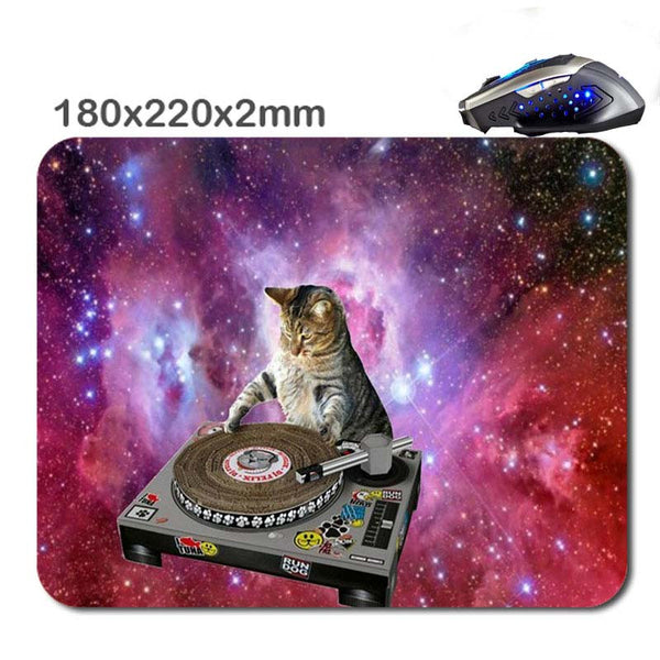 space cat dj mouse pad