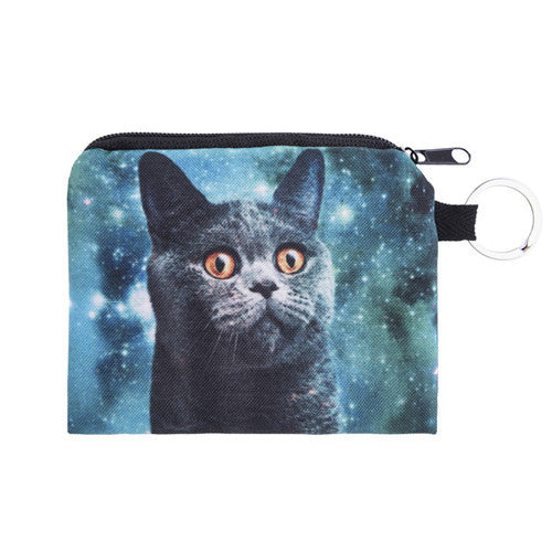 basic black cat space cat coin purse or handbag