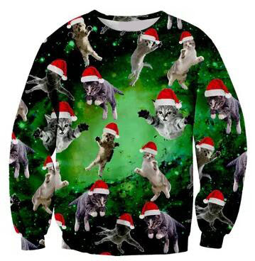 cat sweatshirt holidays santa cats