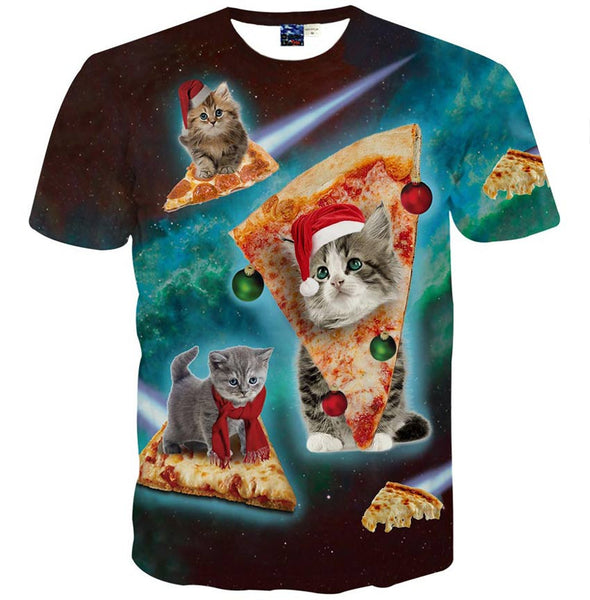 space cats & kittens riding pizza t shirt