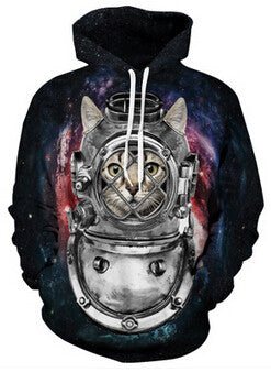 deep sea diver space cat hoodie