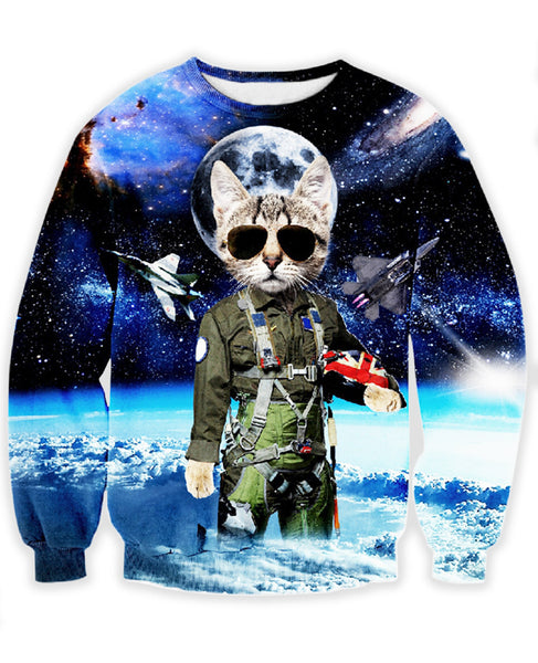 space cat danger zone sweatshirt