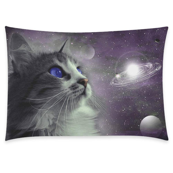 space cat nebula pillow