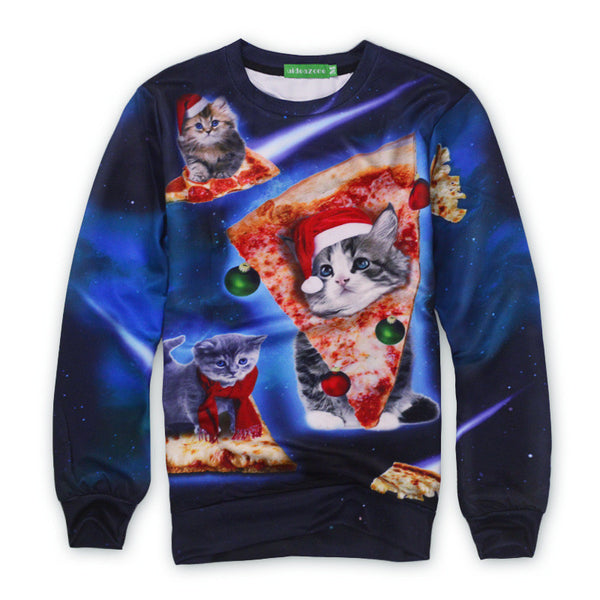 space cats sweatshirt with pizza and santa hats