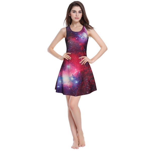 nebula galaxy print dress