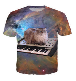 cat on a piano in space