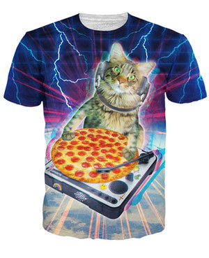 dj space cat in the galaxy with pizza