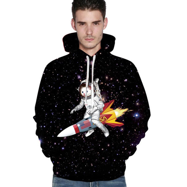 rocket space cat hoodie