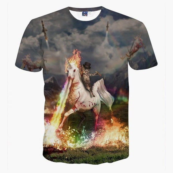 space cat rides a unicorn in today battle t shirt
