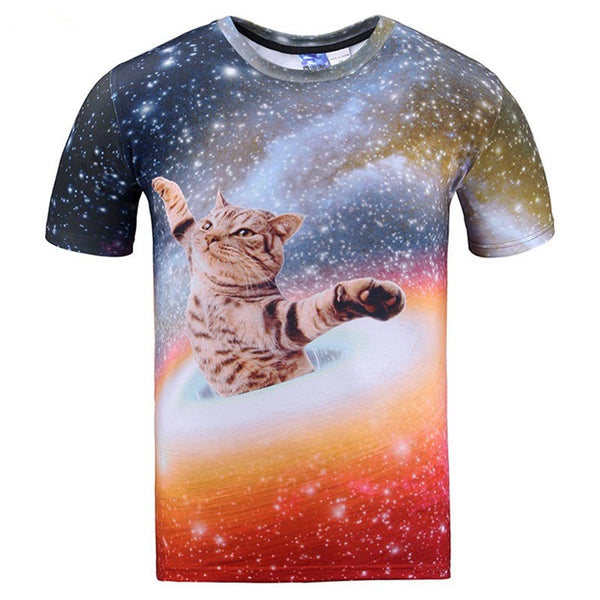 space cat is the center of the universe t shirt