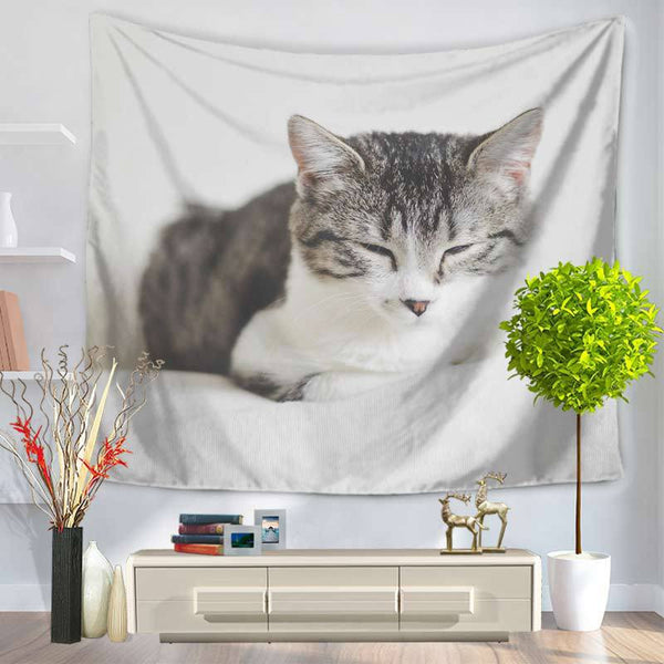 Sleepy Space Cat Wall Art Tapestry