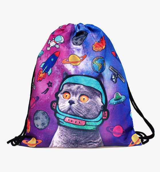 space cat drawstring backpack with astro cat head
