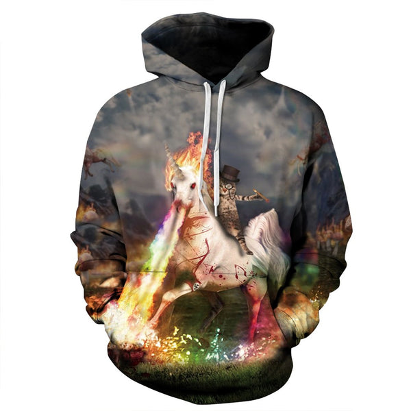 cat riding unicorn hoodie