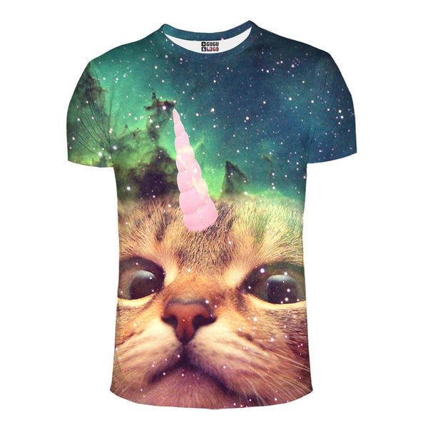 unicorn space cat riding in the galaxy