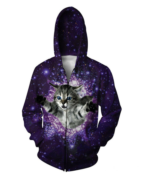 classic space cat time warping through the galaxy hoodie