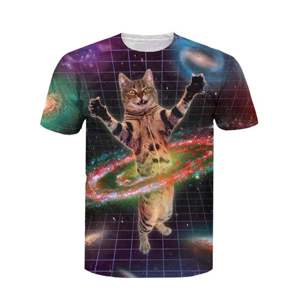 cat in space hula hooping t shirt