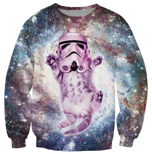 space cat with a storm trooper head sweatshirt