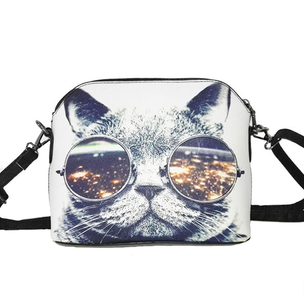 space cat with glasses handbag
