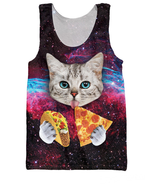 space cat eating pizza tank top